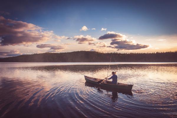 Man on a lake
